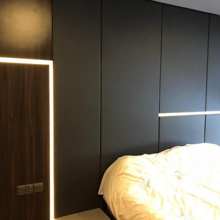 Dark Headboard with covelight